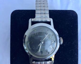 Ladies Vintage Timex Watch, Waterproof, Silver tone