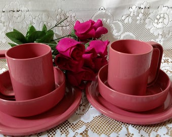 Vintage Ingrid Ltd. Chicago Pink Plastic  Stackable Plates, Bowls, Cups; Dinnerware Set Serving for Two