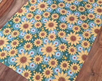 Sunflower and Thistle Fall Table Runner- Green and yellow