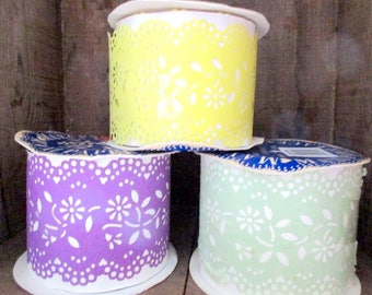 Vintage Roll Yellow Maxi Paper Lace for Bows, Packages, Floral Arraignments, Trimmings
