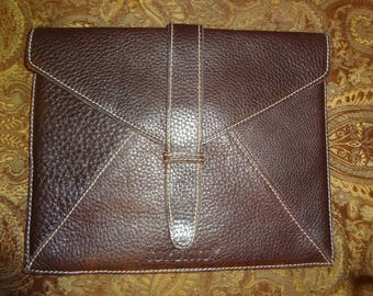 Brown Pebbled Leather ROOTS Envelope Sleeve
