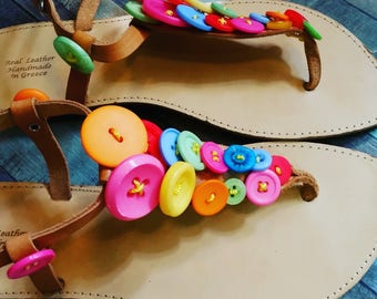 Summer sandals, buttons, colourful button sandals, pretty summer sandals, handmade button sandals. button earrings