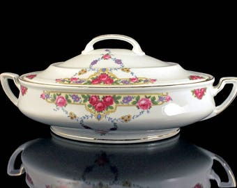 Covered Vegetable Bowl, Victoria China, Czechoslovakia, Floral Pattern, Oval, Gold Trimmed, White