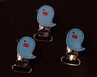 Tie clips, clip blue chick.