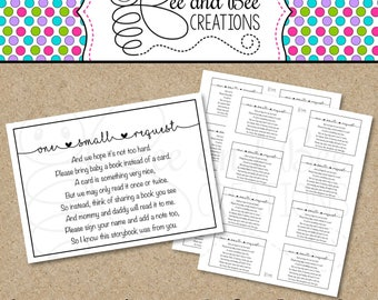 Baby Shower One small request cards : Instant download Printable book request cards baby shower