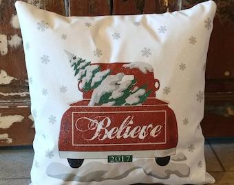 Christmas Truck Pillow, Red Christmas Truck, Holiday Pillow, Christmas Gift Idea, Pillow Cover, Holiday Truck, Christmas Pillow Cover