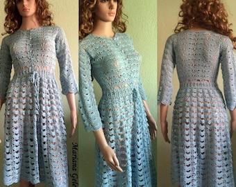Blue crochet dress / custom