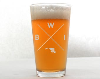 Baltimore Glass | Baltimore Pint Glass - Beer Glass - Pint Glass - Beer Glasses - Pint Glasses - Beer Mug - Baltimore Maryland