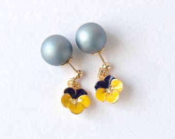 Gold earrings...Matt grey pearl catch earrings with viola pansy flower...2-way! ..ear-jacket. UK seller