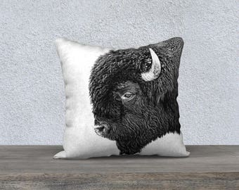 """Bull Bison Portrait Photographic Pillow (18"""" x 18"""" and 22"""" x 22"""")"""