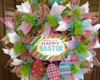 Pink and Green Front Door Easter Wreath on Etsy | Door Wreaths By Trina | Wreaths on Etsy | Etsy Wreaths