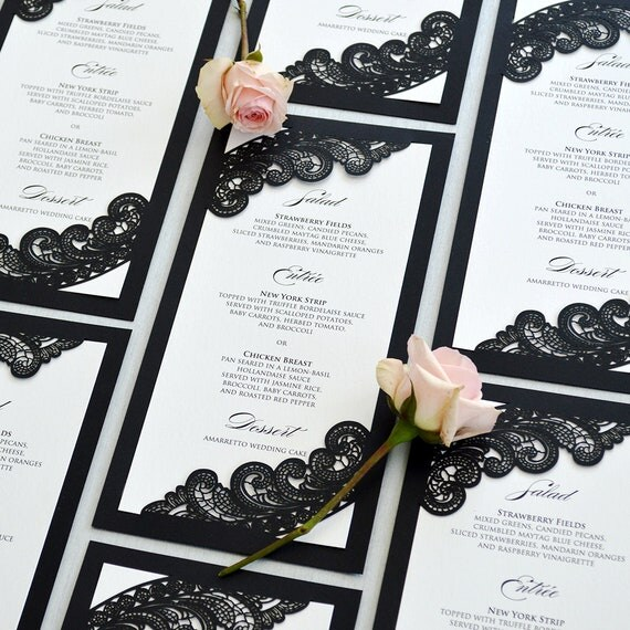 Black and White Chantilly Lace Laser Cut Menu - Vertical Laser Cut Corner Wedding Menu