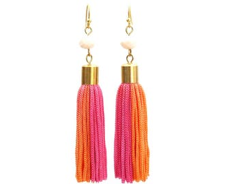 Eco friendly one of a kind hand dyed pink orange tassel earrings for her festival jewelry fashion statement, boho chic ethical jewelry / SOL
