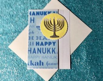 Happy Hanukkah Card and envelope in Manorah