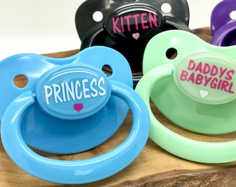 ABDL Custom ADULT Pacifier/Dummy, nuk SIZE 6, personalized Large Silicone ddlg babygirl little sub prince baby boy binky mdlb