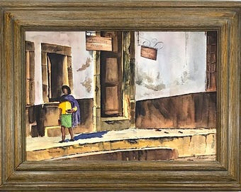 Vintage Signed Original Watercolor Street Scene By Indiana Artist Fred W. Lewis