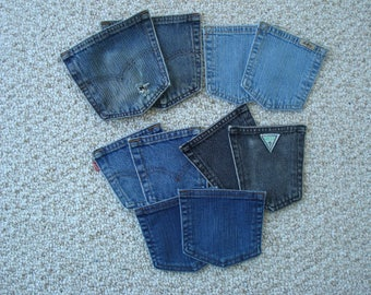 Pockets lot Of 5 Pair ( 10 Pockets in All ) , Denim Pockets , Jean pockets , Coin Purses , Purses , DIY Projects , Arts & Crafts , Recycled