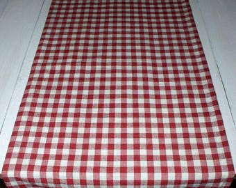 Red U0026 White Gingham Check Homespun Runners Country Gingham Primitive Cabin  Summer Kitchen French Country Runner