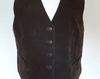 Vintage 90s St Bernard real leather chocolate brown Suede waistcoat vest size large