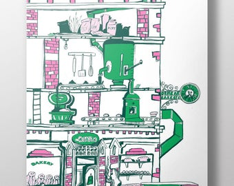 Ormeau Bakery, Belfast Illustration - High Quality Risograph Print
