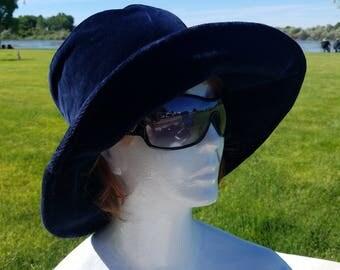 Vintage Nordstrom Blue Velvet Soft Bucket Hat