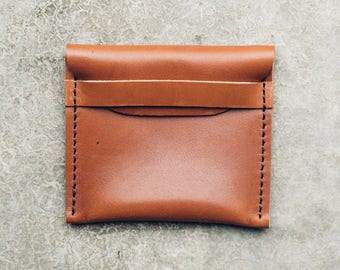 the coin + card pouch in cognac // minimal leather pouch + wallet