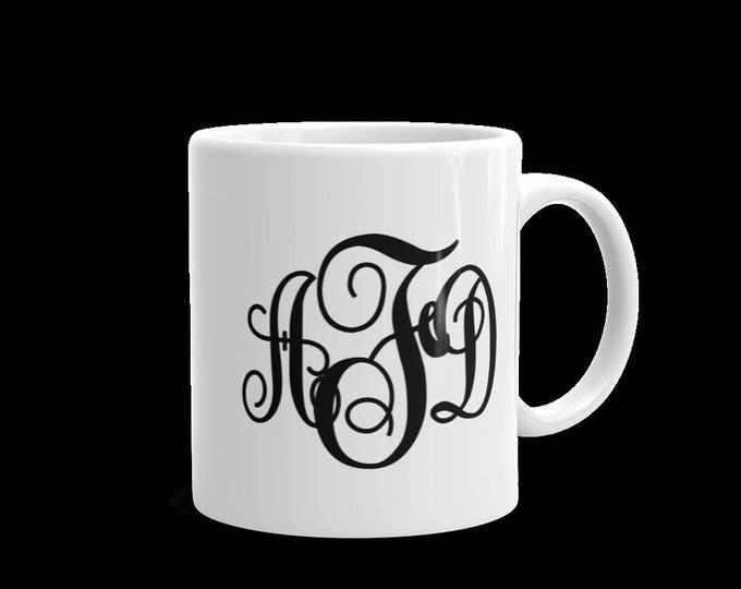 Monogrammed Coffee Mug, Custom Design Coffee Mug, Personalized Coffee Mug, 11 oz or 15 oz Coffee Mug, Choose Your Color Initials, Ceramic