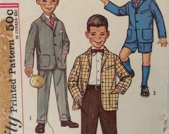 Simplicity 3181 boys suit jacket & pants size 4 vintage 1960's sewing pattern
