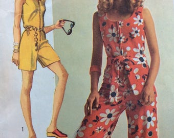 Simplicity 8787 misses jumpsuit Super Jiffy size 12 bust 34 vintage 1970's sewing pattern