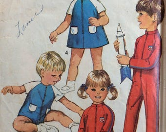 Simplicity 8472 child's jumpsuit and dress size 2 vintage 1960's sewing pattern
