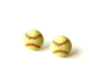 Small Softball Studs, Softball Earrings, Sports Earrings, Softball Jewelry, Yellow Softball, Girls Baseball, Team Sports