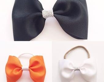 Halloween bows, black bows, orange bows, white bows