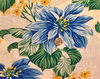 1 Yard Hawaiian Print Quilting Fabric, Blue Hawaiian Fabric, Floral Fabric, Blue Floral Fabric, Floral Quilting Fabric, Quilting Fabric