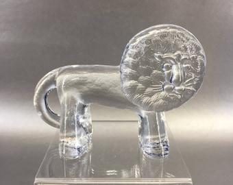 Kosta Boda Crystal Lion Leo Figurine Swedish Art Glass Sweden Zoo Animals
