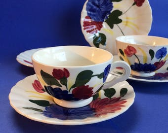 2 Cups and 4 Saucers Blue Ridge Antique American Southern Pottery