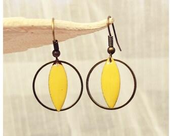 N1 bronze circle enameled earrings