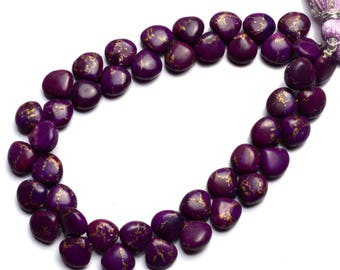Natural Gem Mojave Purple Arizona Copper Turquoise 8MM Approx. Smooth Heart Shape Briolette Beads 8 Inch Strand Super Quality Hand Polished