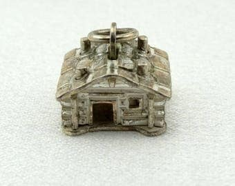 Log Cabin Vintage Solid Sterling Charm FREE SHIPPING!   #CABIN-CM2