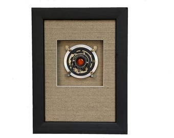 Camera Parts Framed Assemblage Design, Abstract, Photographic Gift, Red Window, Black and Silver, Handmade for Photographers and Photo Fans