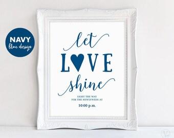 Printable Let Love Shine Sparkler Send Off Sign, Wedding Sparkler Sign Template, Navy Blue, VW11