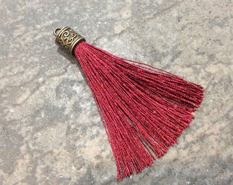 Burgundy Silk tassels with Antique Bronze Filigree Caps Beautiful tassels for Jewelry Making Fall Color Tassels