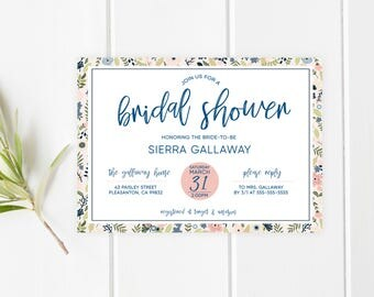 Bridal Shower Invitation, Bridal Shower Invitation Floral, Bridal Shower Invitation Printable, Blush and Navy Bridal Shower Invitation [697]