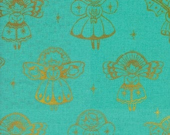 Angels Aqua Metallic  - Garland Collection by Cotton and Steel Fabrics