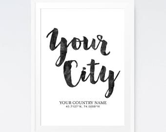 Custom coordinates print, Personalised gift, Housewarming gift, Custom city print, Home sign, Personalized sign, Printable wall art