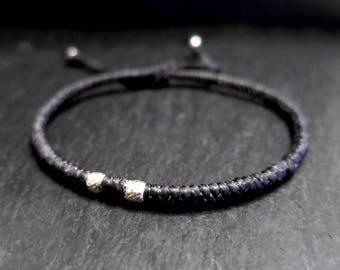 black waxed cord sterling beaded men bracelet / beach bracelet for men / mens surfer bracelet / adjustable bracelet