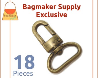 "1 Inch Swivel Snap Hook, Antique Brass / Bronze Finish, 18 Pack, Handbag Bag Making Hardware, Purse Supplies, 1"", Lobster Claw, SNP-AA099"