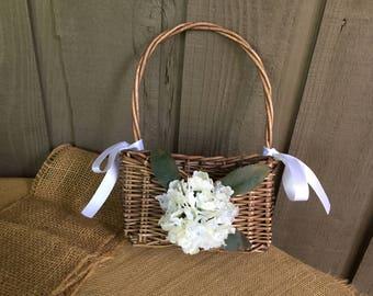Flower girl basket/ unique flower girl basket/ woodland basket/ rustic basket/ flat basket/ thin basket/ wicker basket/ woodland wedding