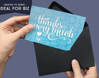 Printable Thank You Card | Ideal For Business | Blue | Forever Cards | Single Use License included | Instant Download