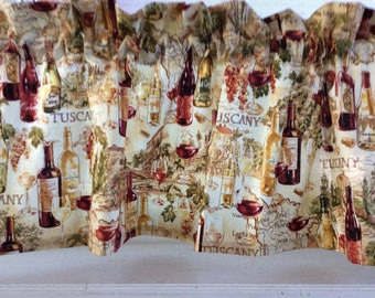 Wine bottles and glasses Valance Curtain
