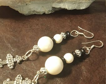 Pearls and Crosses Earrings